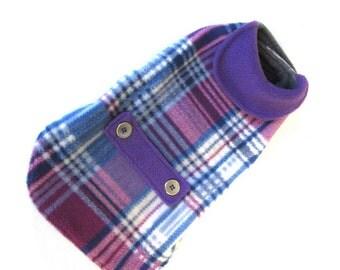 Plaid dog coat, size S/M, wine/purple/grey/blue plaid fleece, pet dog jacket, length 13 1/2  in. (34,5 cm)
