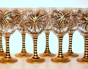 Bridesmaids Gift Bachelorette Party Bridal party Hand Painted Wine Glasses 12 - 21 oz New Years Eve Wedding Gold, Black and Ivory Fireworks