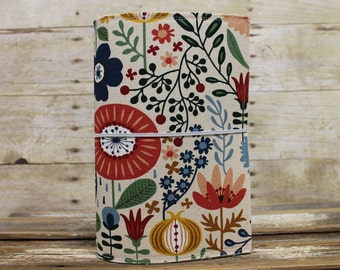 Fabric Fauxdori | Traveler's Notebook Cover | Extra Wide | Bright and Floral