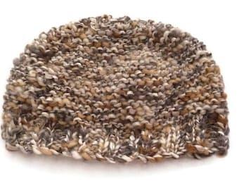 Knit Winter Beanie, Brown Beanie, Knit Hat, Winter Hat