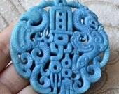 Blue Carving phoenix  Jade Pendant Jade Pendant, Double Face Dragon Jade Pendant Amulet Talisman,Jade Necklace Pendant Jewerly