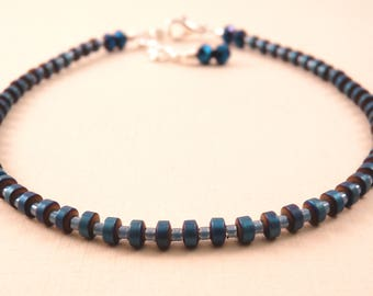 Ankle Bracelet Crystal Anklet Blue Beaded Anklet Crystal Jewelry Beaded Jewelry Beaded Ankle Bracelet