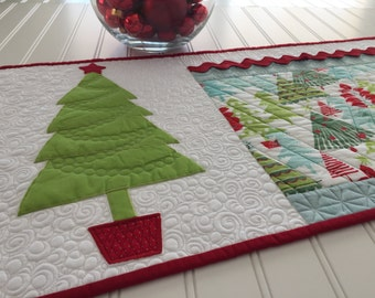 Quilted Christmas Table Runner Holiday Home Decor Red Aqua Green Appliqued Tree