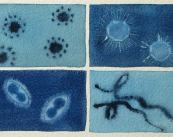 Blue Virus - original watercolor painting