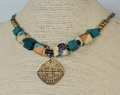 Chunky Bead Choker Necklace, Japanese Fan Pattern Beads, Warm Earth Pendant Necklace, Circle Chain Necklace, Colorful Art Bead Necklace