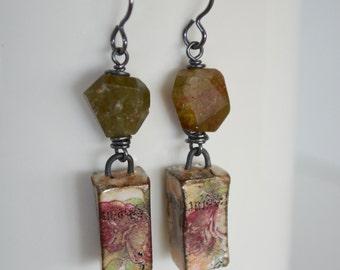 Green Garnet Earrings, Rustic Stone Earrings, Art Bead Earrings, Primitive Earrings, Flower Earrings, Shabby Earrings, Cool OOAK Jewelry