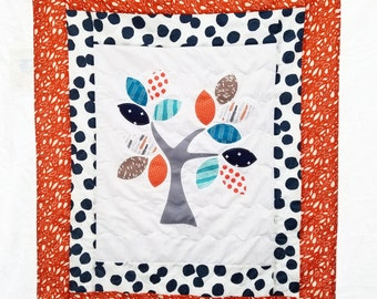 Rust and navy applique baby blanket, tree of life baby quilt