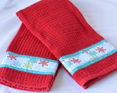Christmas Kitchen Towel Set, Lovely Hand Decorated Towels, Set of Two Holiday Cotton Kitchen Towels, Turquoise and Red Towel