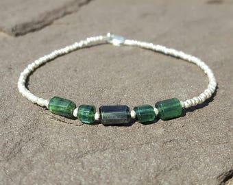 Blue Tourmaline Bracelet Indicolite Bracelets Beaded Bracelets October Birthstone Womens Jewelry Girlfriend Gift Wife Gift Blue Gemstone