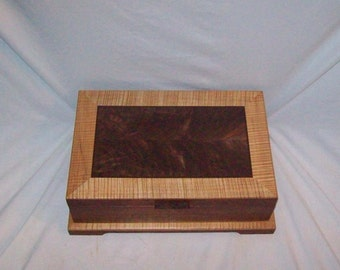 "Fancy Walnut Jewelry box with a special striking look Large Wooden Jewelry Box handcrafted 15""x10""x4 1/2 """