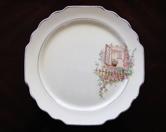W S George Springtime Breakfast Nook Dinner Plate Canary Tone Decal Ware 1930s Lido Shape