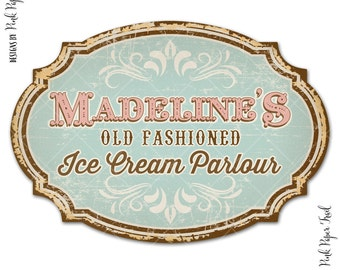 Vintage Ice Cream Sign, Ice cream parlour, Ice Cream Social, Personalized, I will customize for you, Print Your Own, Large A3 size