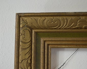 Vintage Art Frame Carved Wood Painted Gold and Green Distressed Picture Frame
