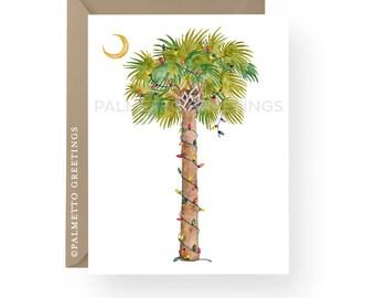 Set of 100 - A2 Folded Beach Christmas Cards, Thank You Card, Palm Tree Christmas Cards, Coastal Christmas, Island Christmas, Handmade
