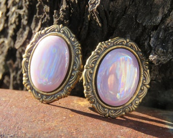 Vintage Oval Shape Shiny Pink & Bronze Clip On Earrings, Costume Jewelry, Mother's Day, Pretty In Pink.