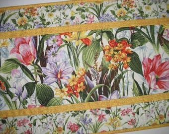 Spring Table Runner, Floral, Easter, quilted, Summer, table linens, fabric from Fabri-Quilt