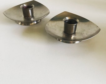Atomic Candle Holders Pair KIH Hong Kong Vintage Stainless Steel Retro Mid Century Modern Home Decor