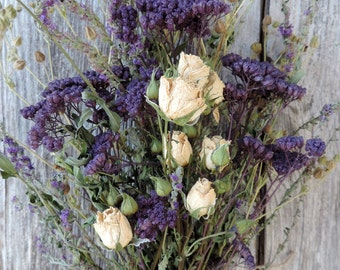 Dried Rose Miniature White Spray with Buds Bouquet Floral Flower Arrangement Yarrow Dyed Deep Purple White Roses Meadow Grasses Pods