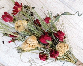 Dried Flower Bouquet Floral Flower Arrangement Cocks Comb Dark Antique White Peonies Wild Meadow Grasses Peony Burgundy Free Lavender Sachet