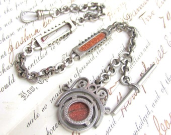 Vintage Goldstone Watch Fob and Matching Chain - Silver Plated Metal circa 1930s