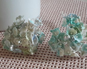 vintage FORGET ME NOTS varigated blue+aqua 20 stems millinery flowers tiny cottony feel