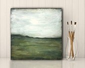"Landscape Painting: 8""x8"" (20.3cm) Original Mixed Media Art, Minimalist Art, Original Art, Horizon Painting, soft blue, olive, gray, ""Range"""