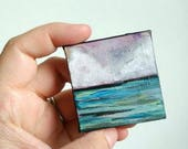 "Landscape Painting: 2x2"" Mini Original Art, Mountain painting, Cloud painting, Landscape Miniature, Mixed media Original Art ""Seascape IV"""