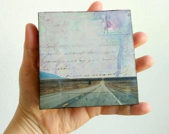 "Travel Art, 4x4"", Colorado Art, Original Art, (10.2cm) Mixed Media Collage, Mixed Media Photography, Open Road, Travel photography ""Journey"""