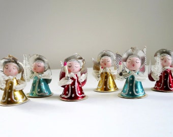 Vintage Shiny Brite Angels, Glitter Christmas Kitsch Ornaments, 6 of Glittered Shiny Brite Angels Fairies, Mid Century Holiday Decorations