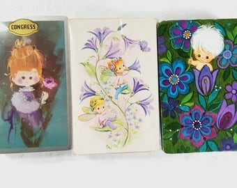 Vintage 1970's, Playing Cards, Card Decks, Pixie Elves Fairies, Vintage Card Games, SWAP Cards, Vintage Ephemera, Card  Decks unused