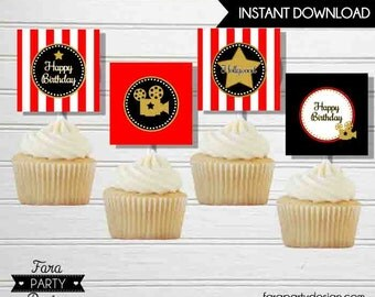 Hollywood Birthday Party Printable Cupcake Toppers by Fara Party Design | Movies Party | Hollywood Star