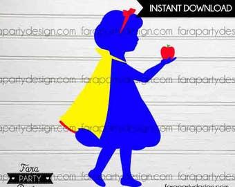 Snow White Inspired Birthday Party- Printable Toddler Silhoutte by Fara Party Design | Snow White Silhouette | Centerpiece