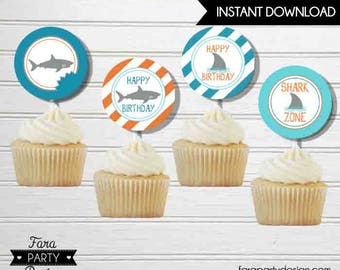 Shark Birthday Party Printable Toppers by Fara Party Design |Shark Under the Sea Party |Boy Birthday | Cupcake Toppers