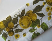 Lovely vintage mid century fruity linen tablecloth citron green yellow floral apples pears grapes vines