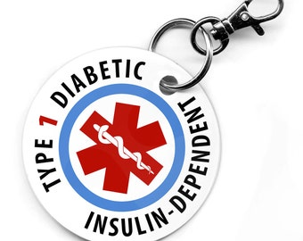 """Medical Alert Type 1 Diabetic Insulin-Dependent 2.5"""" Round PVC Dog Tag Key Chain"""