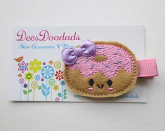 Donut with Pink icing and Lavender Sprinkles Felt Embroidered Hair Clip - Party favor - Feltie Clip