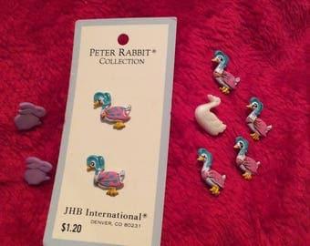 9 Easter buttons:Peter rabbit collection; 2 plastic bunnies/6 metal ducks/1 plastic duck