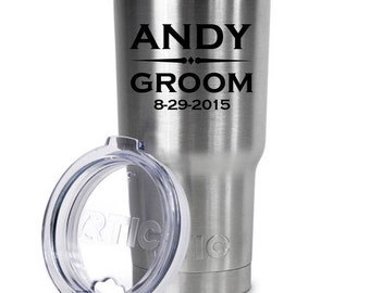 30oz Personalized RTIC Tumbler - 31017 Wedding Party Name with Est. Date