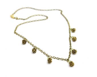 """Green Peridot and Gold Necklace Delicate Necklace of Green Peridot Stone and Acorns 16"""" long"""
