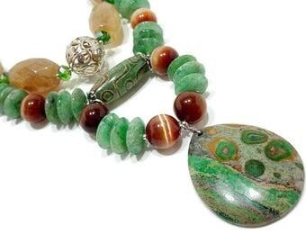 Bohemian Statement Necklace, Tribal Statement Necklace, Ethnic Statement Necklace, Green Boho Necklace, Chunky Gemstone Necklace, Big Bold