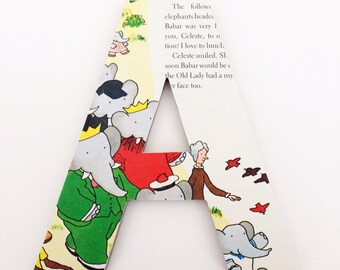 Babar Custom Wood Letters - Children's Used Book Pages - Nursery Alphabet Décor - Storybook Name Art - Elephant Baby Shower Gift