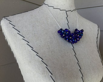 Blue Statement Necklace- Beaded Cluster Necklace in Blues - Unique Beaded Statement Necklace- only 1 available