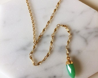 Chrysoprase point Y necklace - Y necklace, Gold layering necklace, gemstone necklace
