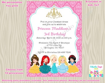 Princess birthday Invitation invite princess invitation disney princess party invite princesses Digital CHOOSE YOUR PRINCESS