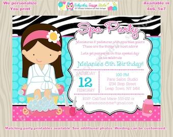 Spa Party birthday Invitation, invite, spa party invitation, spa party invite, spa birthday party, printable,digital