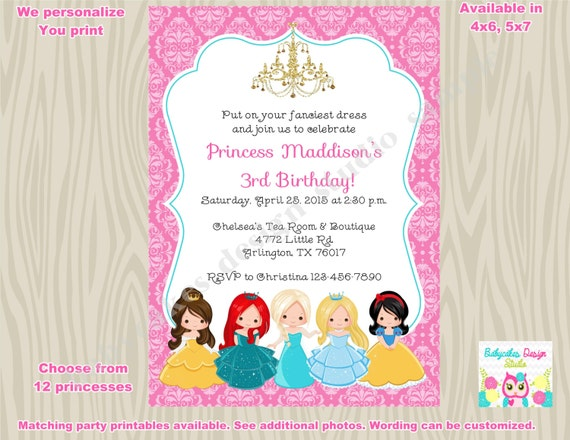 Princess birthday Invitation invite princess invitation disney – Invite a Princess to Your Party
