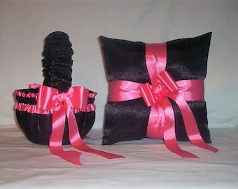 Black Satin With Coral Trim  Flower Girl Basket And Ring Bearer Pillow