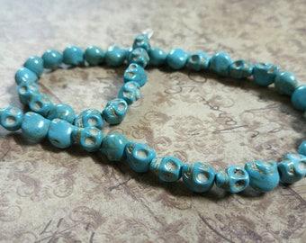 Skull Beads Blue Skull Beads Howlite Beads Wholesale Beads 9mm Beads BULK Beads 9mm Skull Beads Turquoise Beads Halloween Beads FULL STRAND