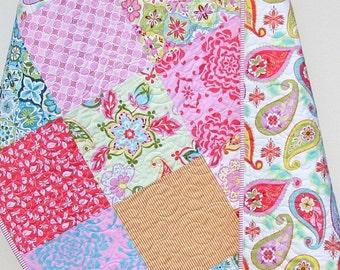 Splendor Baby Quilt, Girl Toddler Child Blanket, Modern Whimsy Designer Bedding, Paisley Floral Flowers, Pink Aqua Orange