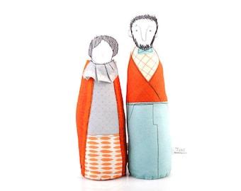 Selfie Couple , Personal family , Grandparents gift , soft sculpture dolls , Bearded men , Family Portrait , Dolls Pair , Couple gift dolls